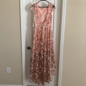Beautiful pink and gold lace dress!